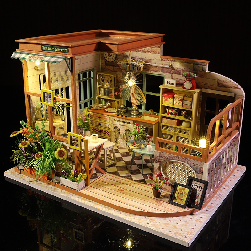 Cutebee Casa Doll House Furniture Miniature Dollhouse DIY Miniature House Room Box Theatre Toys For Children Casa Dollhouse S02B