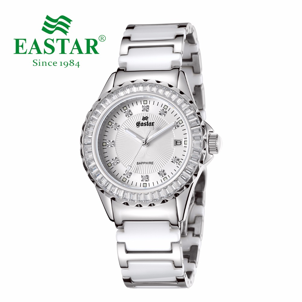 Eastar Elegant Diamond White Women Quartz Wrist Watch Waterproof Ceramics Lady Clocks Band Stainless Steel Fold-over ClaspEastar Elegant Diamond White Women Quartz Wrist Watch Waterproof Ceramics Lady Clocks Band Stainless Steel Fold-over Clasp