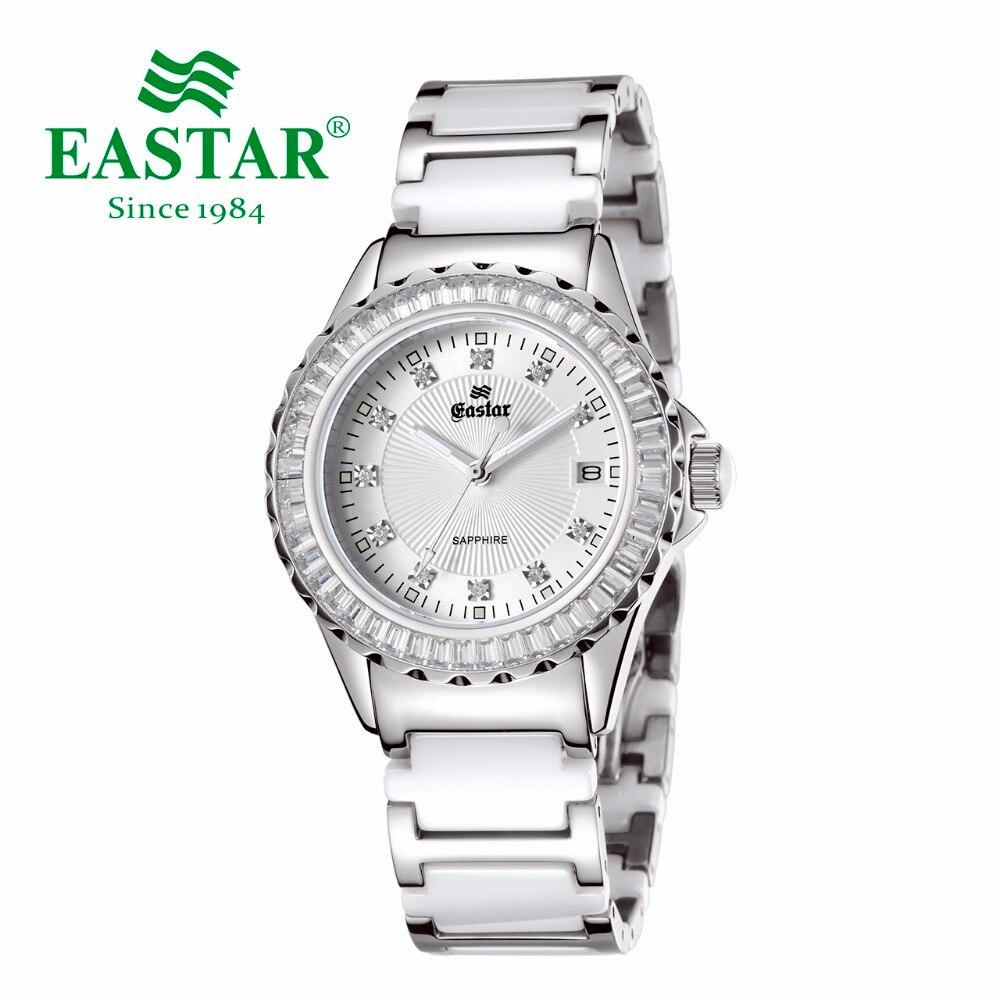 Eastar элегантный в форме бриллианта белые женские кварцевые наручные часы водонепроницаемые керамические женские часы ремешок из нержавеющей стали складывающаяся застежка