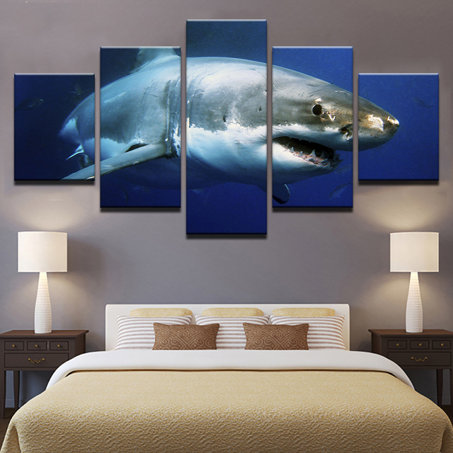 Home Decor Canvas Prints Pictures Wall Art 5 Pieces Blue Ocean White Shark Animal Paintings Living