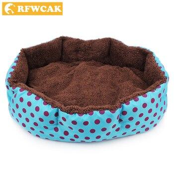RFWCAK Hot Winter Warm Dog Bed Soft Fleece Dot Design Pet Nest With Removable Pet Mat Octagon Shape Kennel Cat Free Shopping