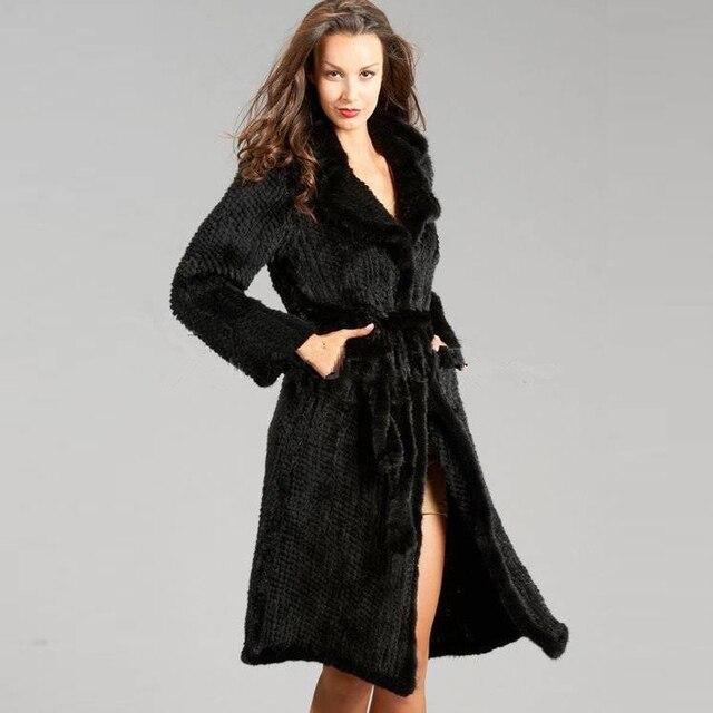a613db938bf Winter Fashion Women Mink Fur Coat Natural Knitted Genuine Mink Coat Jacket  Long Sexy Stylish Women