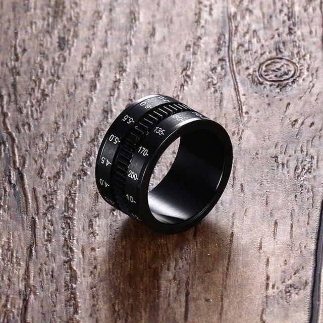 Mens Finger Rings in Black Stainless Steel SLR Telephoto Spinner Ring Lens Focus