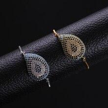 NJ Fashion Evil Eye Design Charm Chain Link Bracelets for Women Adjustable Cubic Zircon Zodiac Silver Gold  Bracelet Jewelry