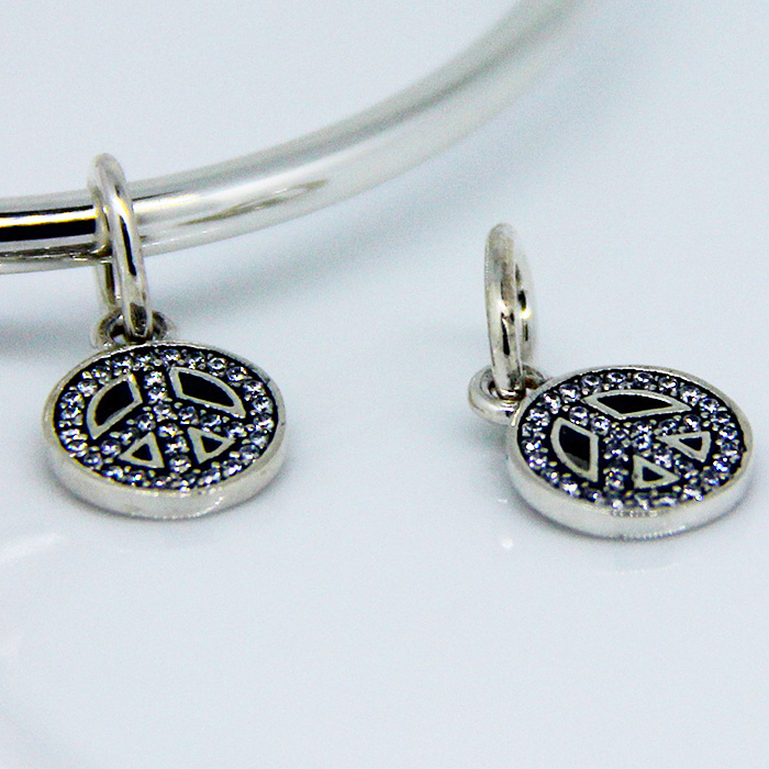 Fits For Pandora Bracelets Symbol Of Peace Charms With Clear Cubic