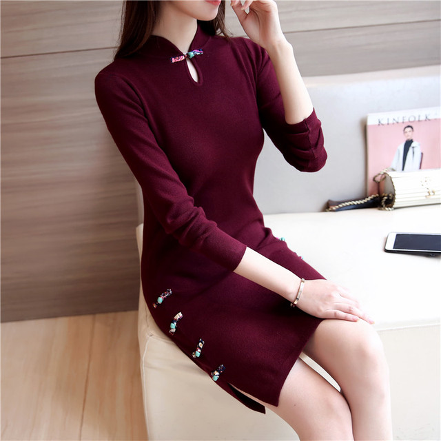 2018 winter chinese traditional dress long sleeve red black cheongsam traditional chinese dresses for women cotton qipao
