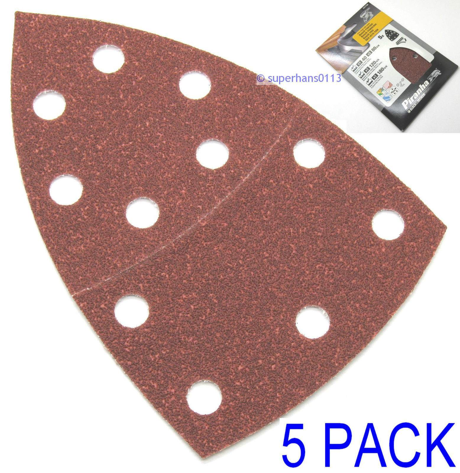 5pcs/set 150mm Sanding Sheets Paper For Palm Detail Sander 40/80/120/180 Grit For Wood Paint