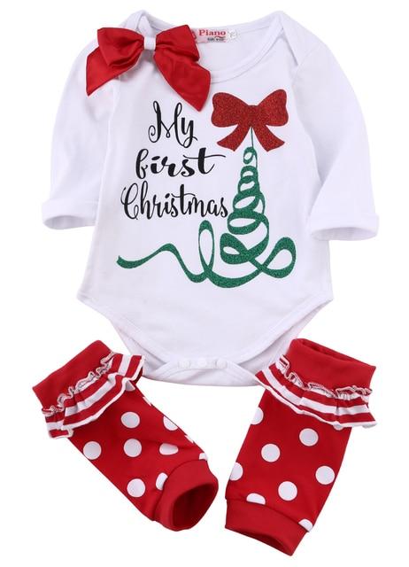 e4ed8dd9b Winter Baby Clothes Set MY First Christmas Newborn Baby Girls Romper Leg  Warmer Outfits Xmas Set 0-18M