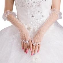 Womens Lace Mesh Bridal Gloves Fingerless Elbow Length Long Gloves