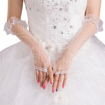 Womens Lace Mesh Bridal Gloves Fingerless Elbow Length Long Gloves Wedding Party Bridal Gloves