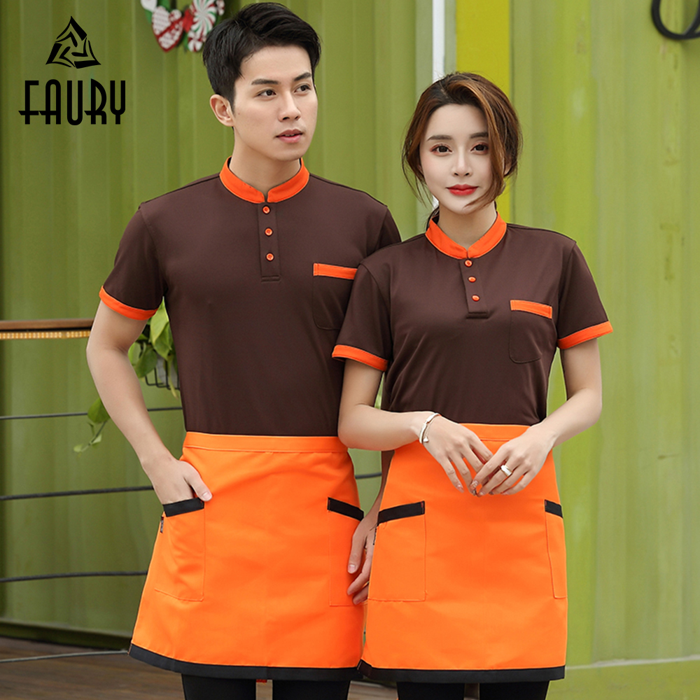 2019 Hotel Waiter Waitress Uniform Food Service Polo Collar Shirt Barbers Kitchen Summer Breathable Work Overalls Wholesale