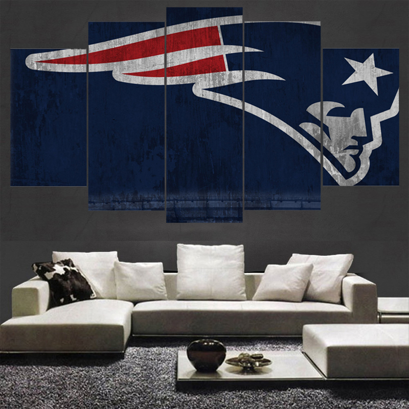 New England Patriots Home Decor.5 Panel New England Patriots Wall Art Picture Modern Home
