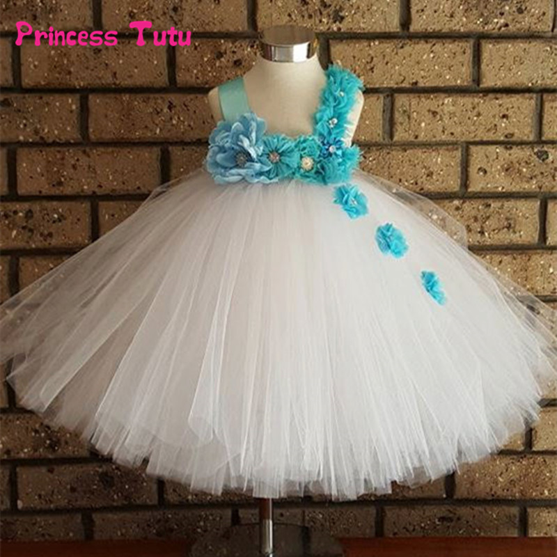 Floral Tutu Dress Girl Princess Tulle Dress Kids Wedding Flower Girl Dresses Pink White Girls Birthday Party Festival Costumes