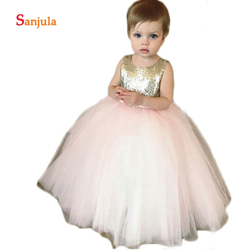 Pink Tulle Skirt Ball Gown   Flower     Girls     Dresses   Squins   Girls   Pageant Party   Dress   Open Back with Bow baljurken meisjes D82