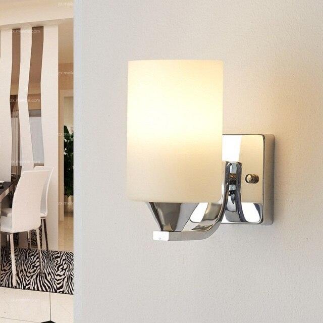 € 13.8 24% de réduction|Applique murale moderne en verre lit lumière lecture Parede brèves appliques murales E27 lumière LED salle de bain 220 V