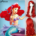 The Little Mermaid Princess Ariel Wig Long Curly Wavy Red Synthetic Anime Cosplay Wig Lovely Heat Resistant Wig for Sexy Ladies