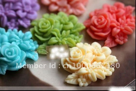 Free Shipping Wholesale 25mm Resin Flower/Pendants Cabochons for Jewelry Decoration 50pcs/lot