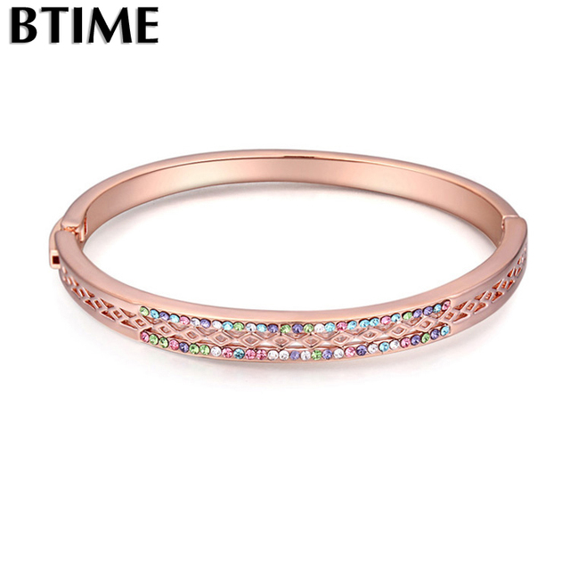 Btime New Design Rose Gold Bracelets   Bangles Made with Crystal from swarovski  Bangle Vintage Women da8e64529c77