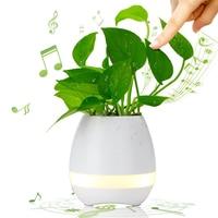 Smart Music Flower Pot Planter Touch Play Indoor Plant Pot Wireless Bluetooth Speaker Round Decorative LED