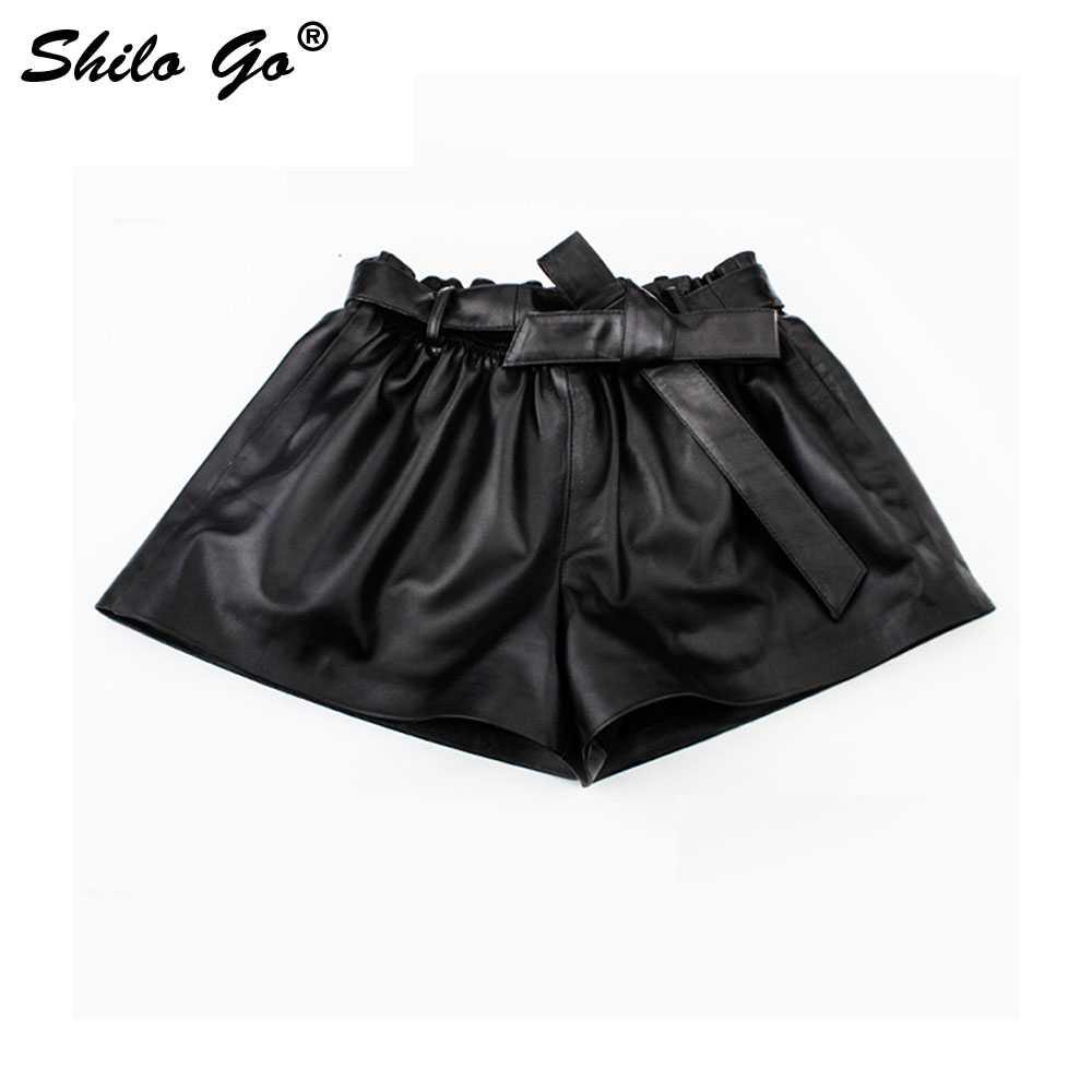 SHILO GO Leather Shorts Womens Autumn Fashion Sheepskin Genuine Leather Shorts Sexy Stretch Waist High Waist Bow Belt Hot Shorts