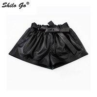 SHILO GO Leather Shorts Womens Autumn Fashion sheepskin genuine leather Shorts sexy stretch waist high waist bow belt hot Shorts