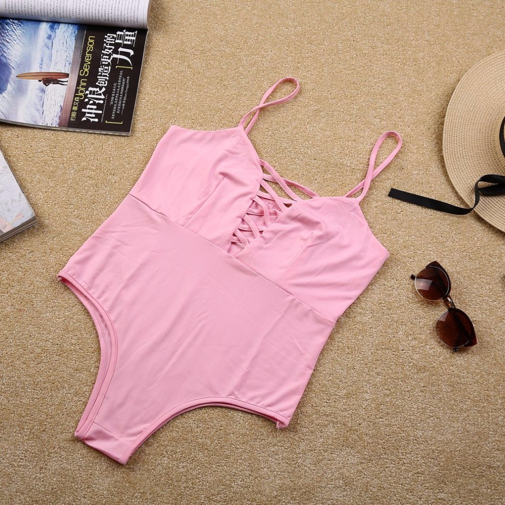 Sexy Vintage Front Bandage One-Piece Swimsuit Beachwear Soft Polyester Fiber No Steel Prop Elastic Women Swimsuit Bathing Suit 5