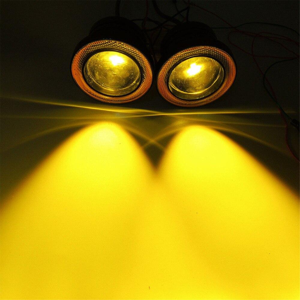 """""""2х 3,5""""""""дюймовый 89 мм / 3"""""""" дюймовый 76мм 3200Lm желтый светодиод cob проектор Противотуманные фары высокой мощности Вт/ Янтарный глаза Ангела гало кольцо для авто 12В"""""""