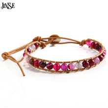 JINSE Leather Beaded 1 WP Rose Red Bead Bracelet Natural Red Stone Bracelet Jewelry Women Bracelet
