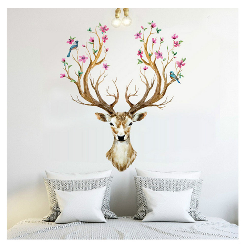 flower deer head wall sticker. Black Bedroom Furniture Sets. Home Design Ideas