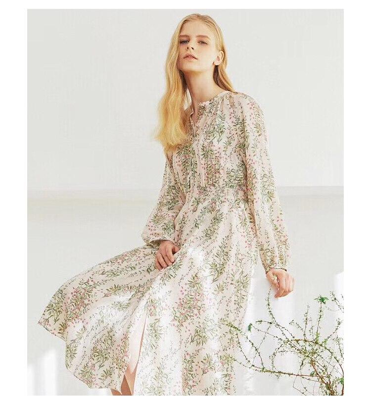 19 spring vintage print temperament dress floral printing midi dress