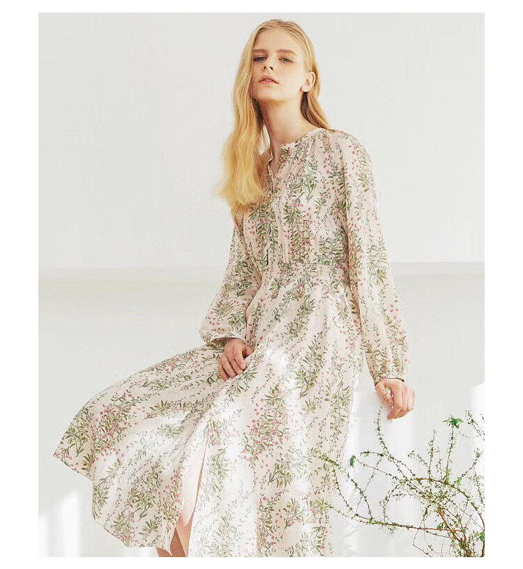 19 spring vintage print temperament dress floral printing midi dress-in Dresses from Women's Clothing    1