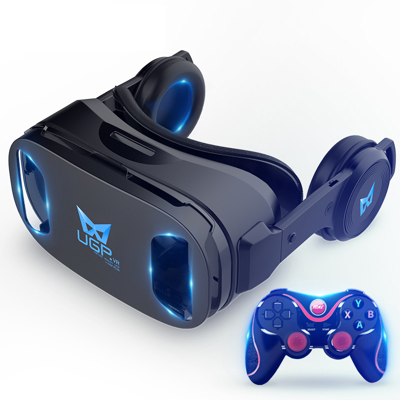 UGP 3D IMAX Virtual Reality Helmet VR Headset For Smartphone 4.5-6 Inch With Bluetooth Gamepad VR Glasses For 3D Games Video цена