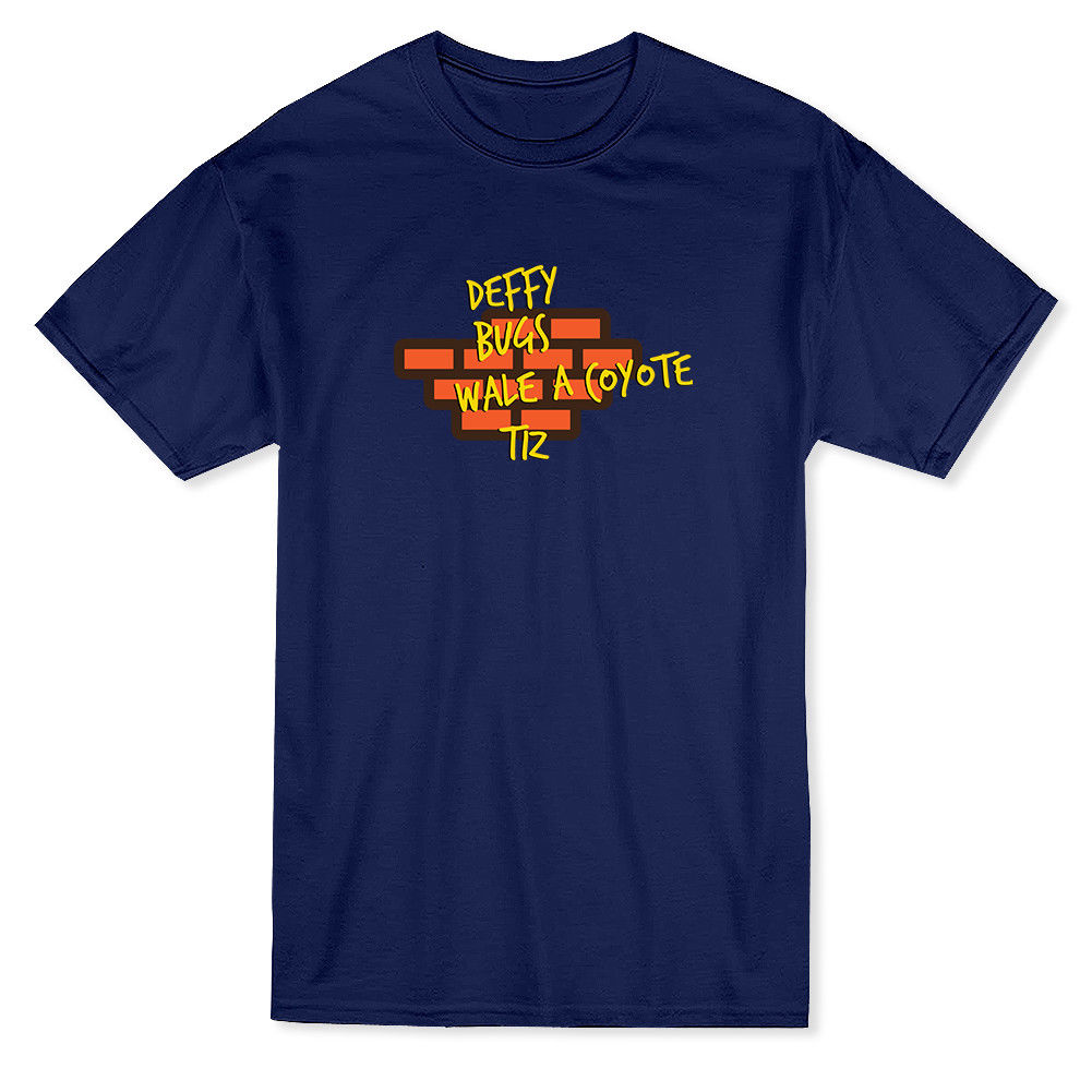Deffy Bugs Wale A Coyote Tiz Mens Navy T-shirt