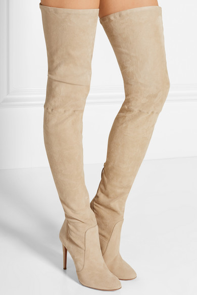 Online Shop Elegant beige suede leather over the knee boots round ...