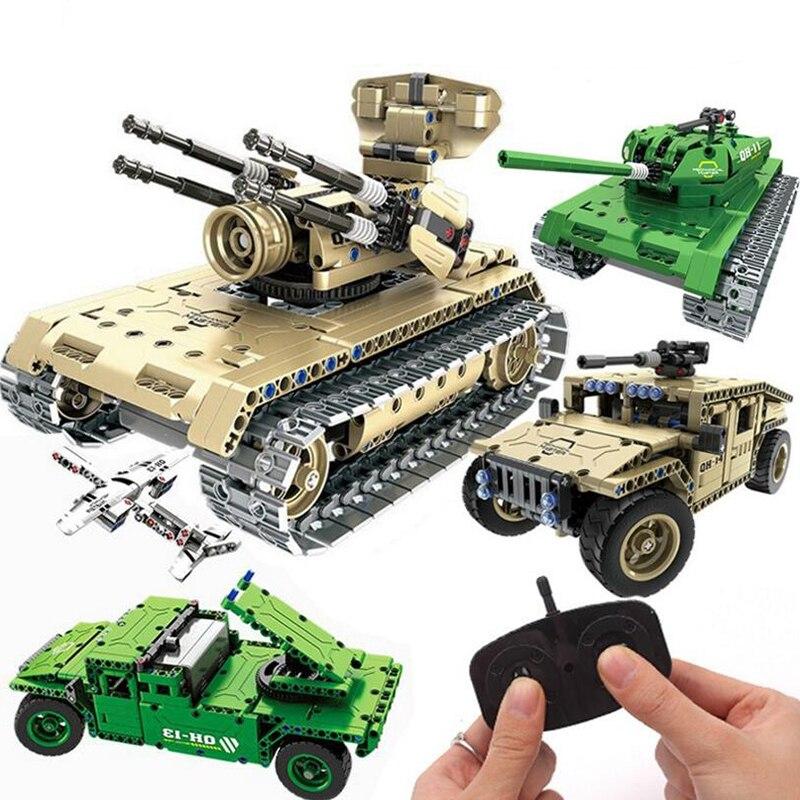 Militaire Guerre RC Réservoir joue-mobil Télécommande Réservoir Blocs Technique Briques Télécommande Jouet Réservoir Modèle Building Block juguetes