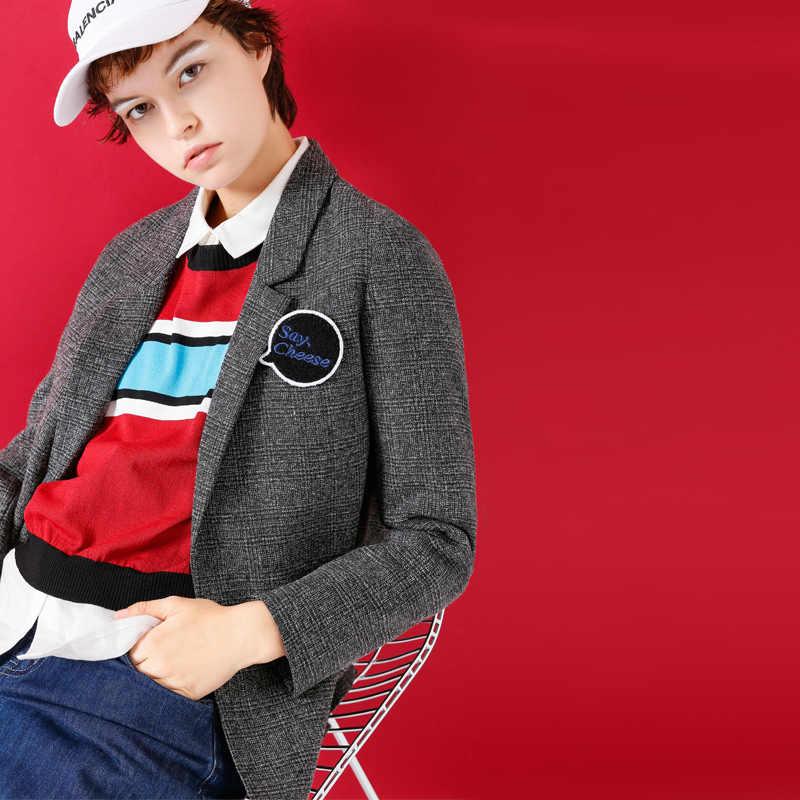 Toyouth Блейзер Осень 2017 г. Для женщин vintga насадки характер Вышивка тонкий универсальные Пиджаки для женщин женские