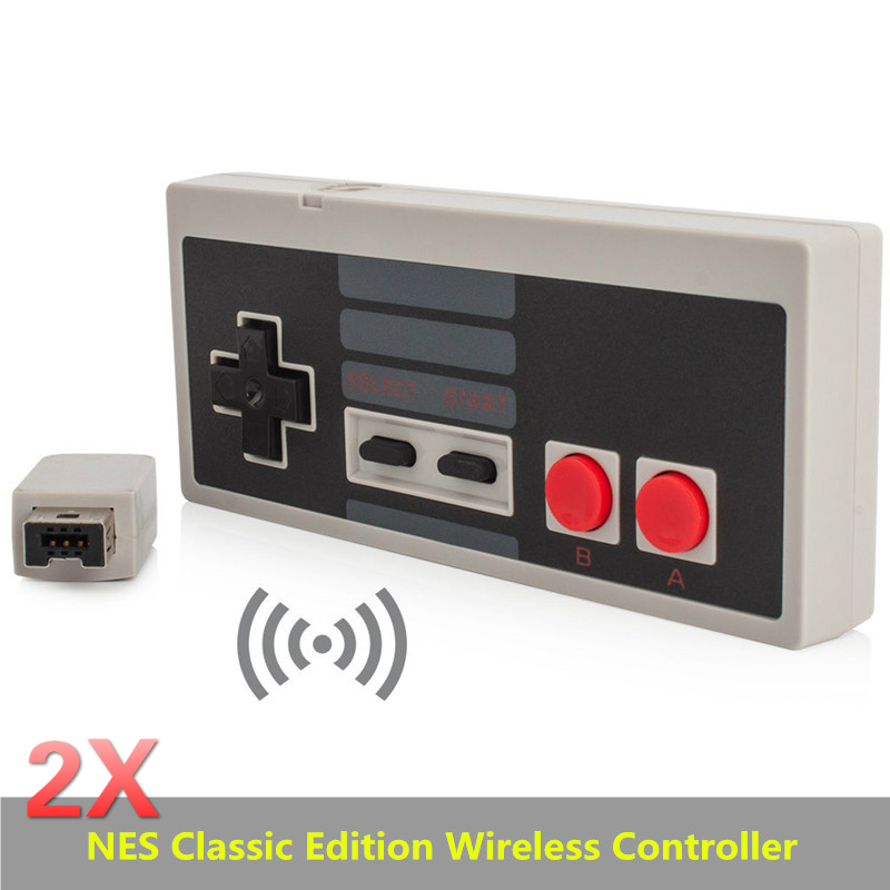 2pcs Wireless Plug and Play Gaming Controller Gamepad for Nintendo for NES Mini Buttons Classic Edition With Wrireless Receiver for nes classic mini edition case travel storage hard shell for nes classic edition 2017 for snes classic edition case mini bag