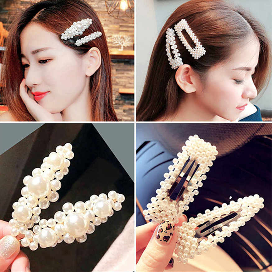 1 Pcs Fashion Elegant Pearl Hair Clip for Women Korean Design Snap Barrette Stick Hairpin Hair Styling Accessories Sexy