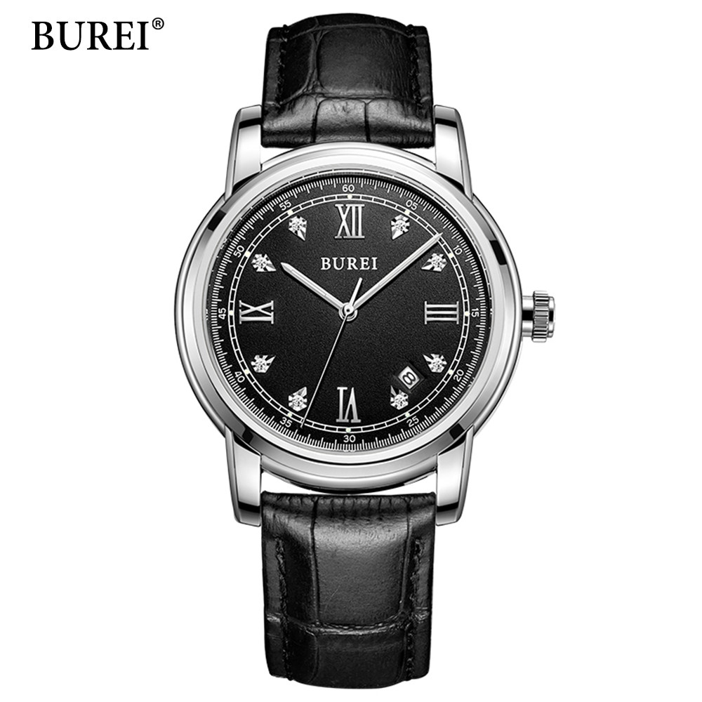 BUREI Mens Automatic Mechanical Watch Males Luxury Business Wrist Watches Gift Box Steel Wristwatches Relojes Mecanicos 2017 original binger mans automatic mechanical wrist watch date display watch self wind steel with gold wheel watches new luxury