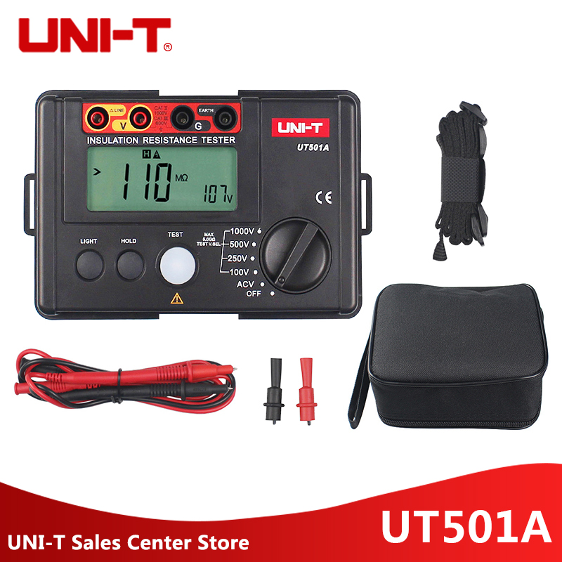 UNI-T UT501A 1000V Insulation Earth Ground Resistance Meter Tester Factory Price UT501A Megohmmeter Voltmeter w/LCD Backlight uni t ut501a 1000v megger insulation earth ground resistance meter tester megohmmeter voltmeter w lcd backlight