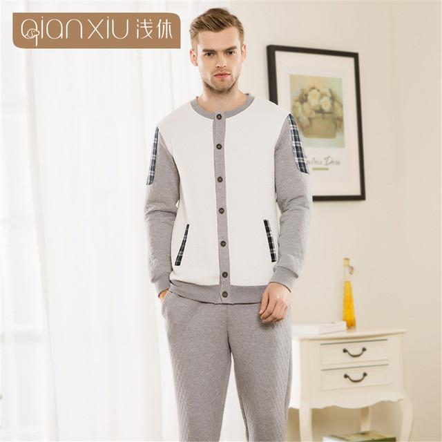 Qianxiu pijama masculino clip de algodón pareja pijama amantes del sueño salón pijama hombre pijamas para hombres hombre pijama pijama de dormir
