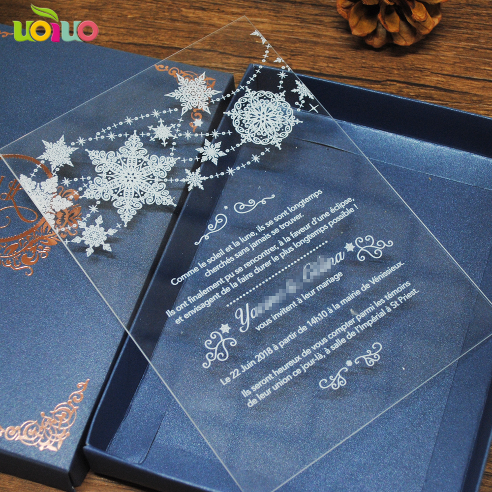 elegant fancy unique acrylic invitation card with white words wedding and party favor royal wedding invitation card