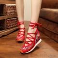 Весна и осень classice вышивка высота увеличение женская обувь, босоножки, кроссовки клинья обувь для женщин