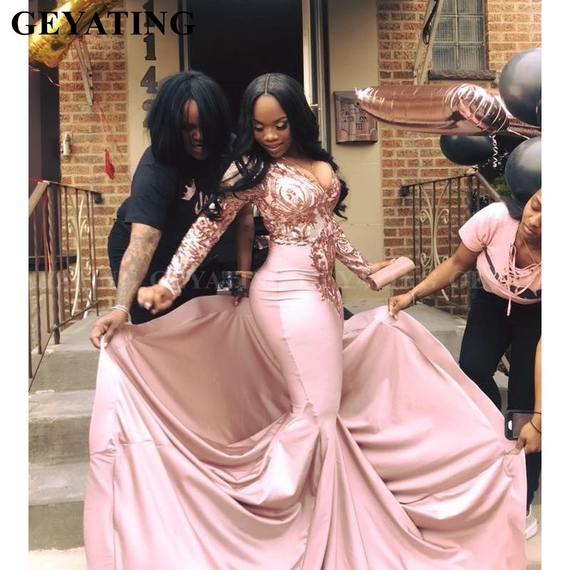 Rose Pink Sequins Mermaid Long Sleeves African   Prom     Dresses   2019 Sexy V-Neck Court Train Plus Size Black Girls Graduation   Dress