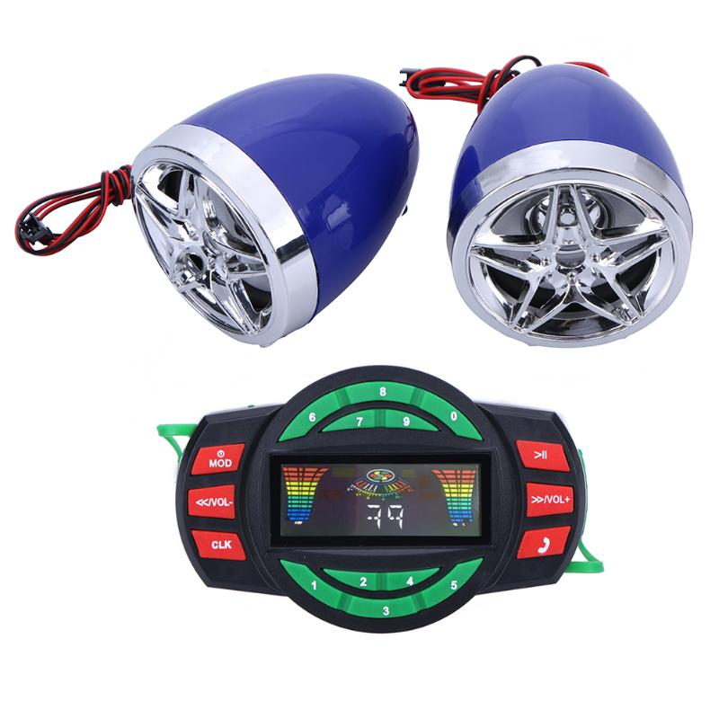 Motorcycle Bluetooth Audio System FM Radio Stereo Speaker SD TF USB MP3 Player Handsfree Moto Anti-theft Device Display Screen motorcycle handlebar car audio fm tf mp3 usb sd handle bar stereo 2 speakers amplifier sound system alarm motorbike anti theft