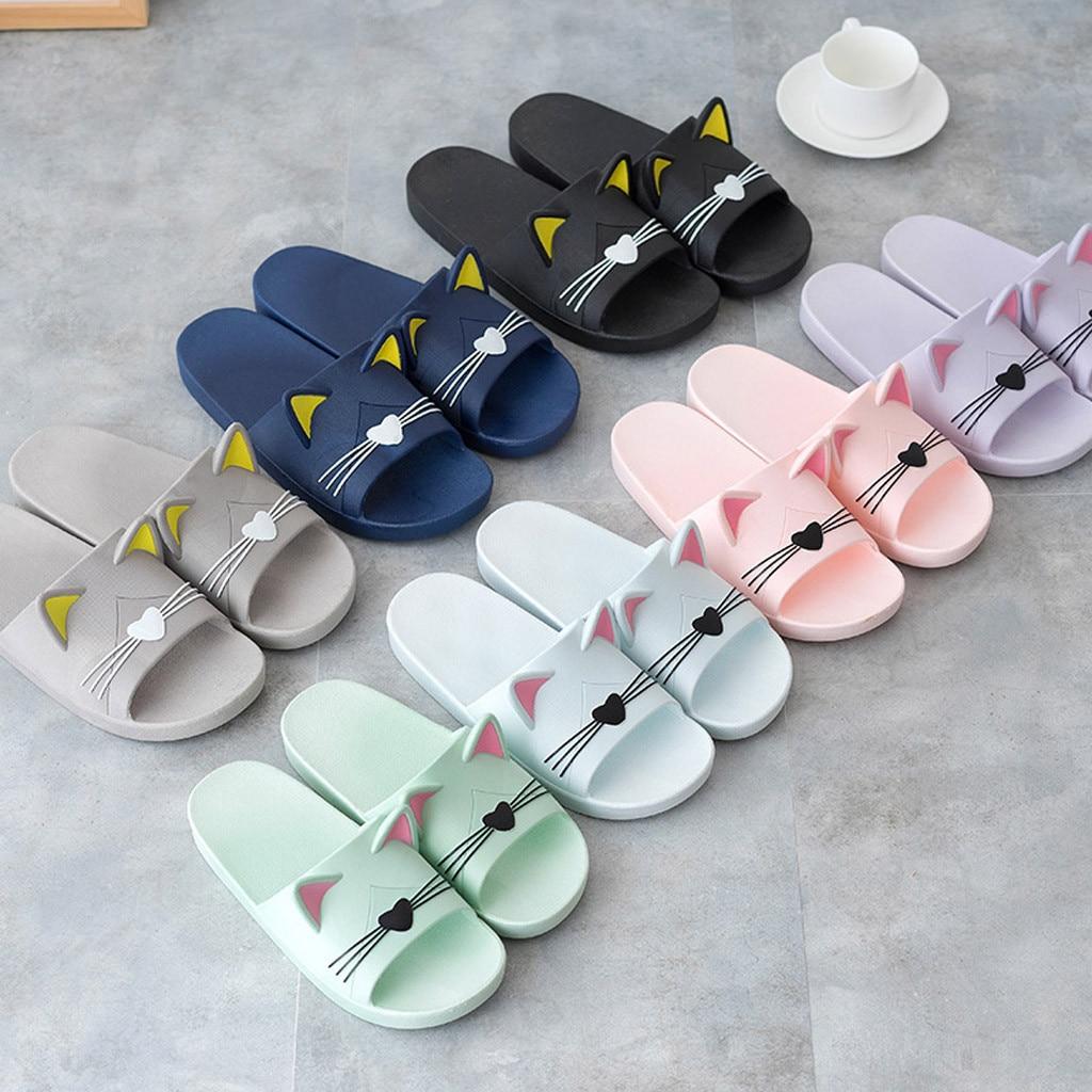 100% QualitäT Xiniu Männer & Frauen Hause Drinnen Hausschuhe Cartoon Katze Boden Familie Schuhe Strand Sandalen Chaussures Femme Zapatos De Mujer # A0228