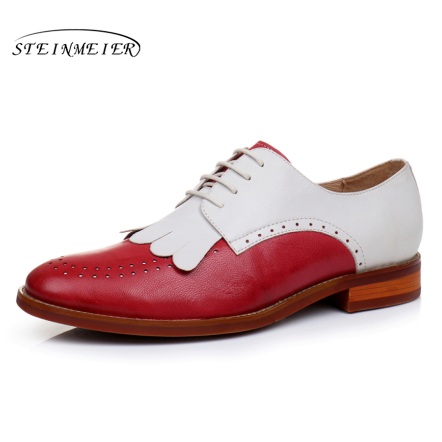 Genuine leather woman size 9 designer yinzo vintage flat shoes round toe handmade red beige oxford shoes for women 2017 genuine leather flat shoes women size 8 yinzo handmade beige brown vintage round toe british oxford shoes for women 2017