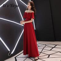 It's YiiYa Evening Dress Wine Red Simple Boat Neck Floor length Formal Gown Gold Lace Embroidery Long Party Dresses E067