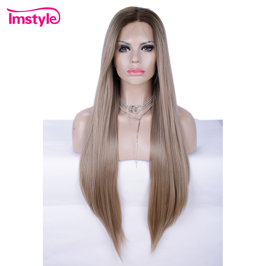 Imstyle Ombre Blonde Brown Synthetic Lace Front Wig Natural Straight Hair Wigs For Women High Temperature
