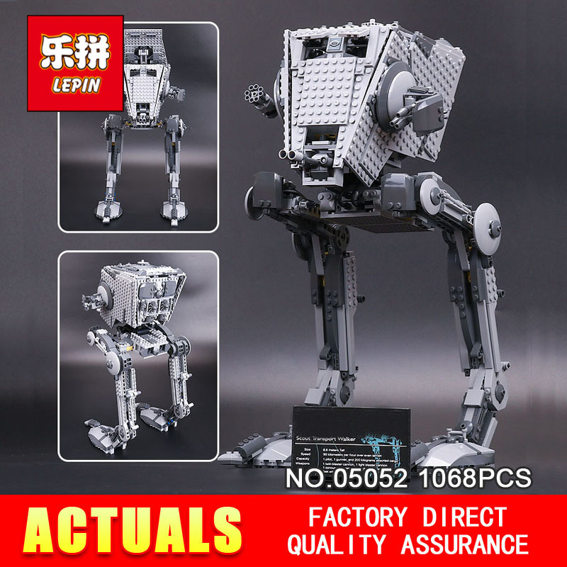 цена на New Lepin 05052 1068pcs STAR Out of print AT Model ST Set Building Blocks Bricks Model Boys Toys Children Gifts 75153 WARS